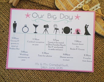 Order of the day - order of service -Itinerary- timeline style any colours/wording available x10