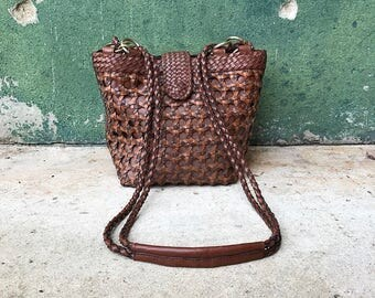 Vintage Braided Woven Brown Leather Purse