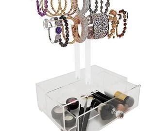 2 Tier Acrylic Bracelet T-Bar Tree Stand w/Drawer