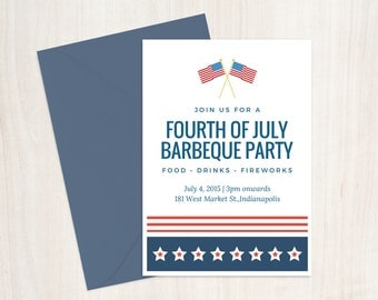 Fourth of July Invitation Printable 5x7 , Fourth of July Party Invitation, Printable July 4th Invitation, July 4th invite
