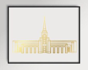 LDS Fort Lauderdale Florida Temple Gold Foil Print