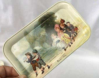 On Sale Vintage 80's French Massilly metal tray. French children scene on metal tray. Children at play. Small tin tray.