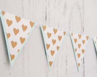 Gold Hearts Banner - RTS Banner - Mint and Gold Banner - Mint and Gold Hearts Garland - Heart Banner - Heart Garland - Mint and Gold Nursery