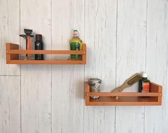 bathroom shelf wood floating shelf spice rack kitchen wall shelf wood floating