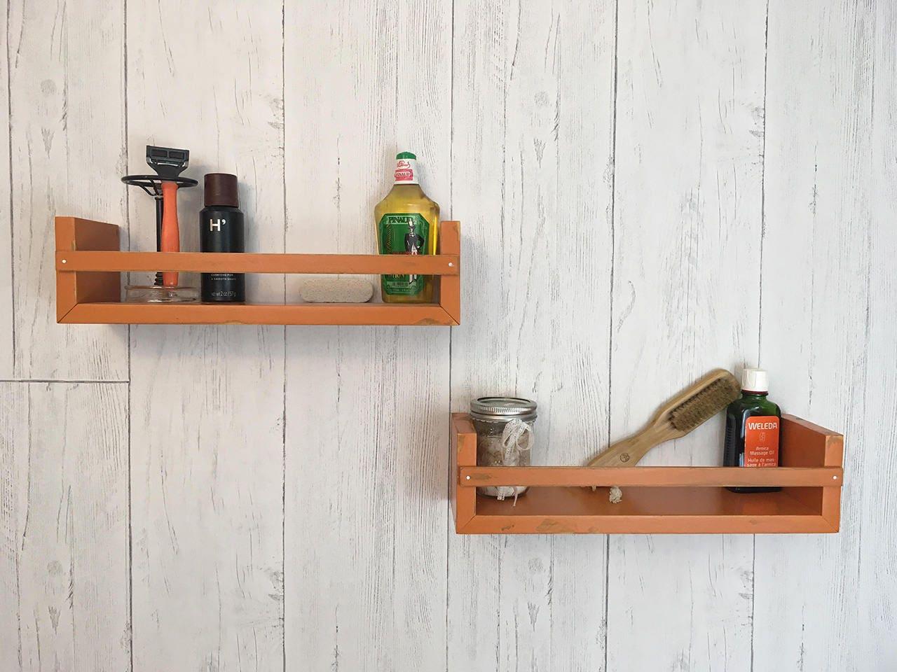bathroom shelf wood floating shelf spice rack kitchen wall. Black Bedroom Furniture Sets. Home Design Ideas