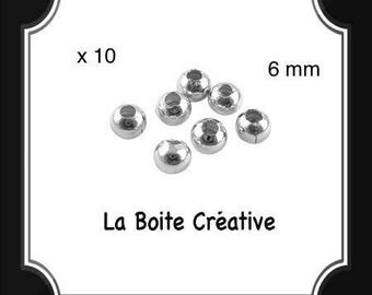 10 INTERCALAIRES in SILVERED METAL 6 mm round beads