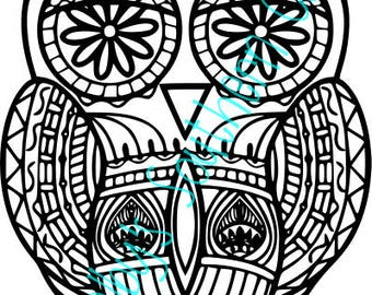 Zentangle Owl SVG