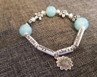 Alice in Wonderland charm quote bracelet.