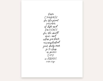Victor Hugo print, Hand lettering, calligraphy, minimal decor, scandinavian art, letters and laurels