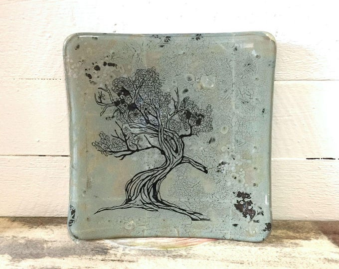 Glass dish with a sandblasted tree design, Glass art, gift for friends