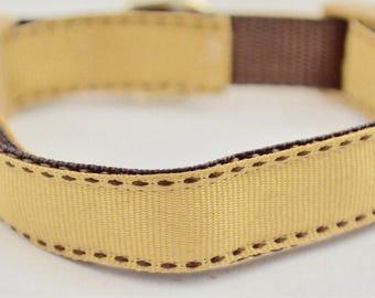 Brown Stitch Design Dog Collar