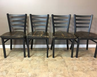 Reclaimed Dining Chair  Set of 4   Flat Black Metal Finish   Ladder Back Metal   Restaurant Grade -18 Inch High Dining Chair