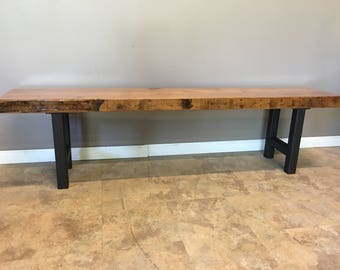 Modern Bench Made from Reclaimed Barn wood |With our Custom H Leg Base | Choose your Size | Thickness of top | Select your Finish