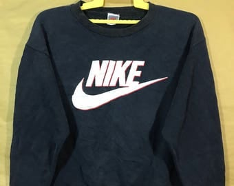90s Vintage Nike Grey Tags Big Swoosh Logo Sweatshirt Unisex Adult Medium Size Polyester Cotton 50/50 Materials