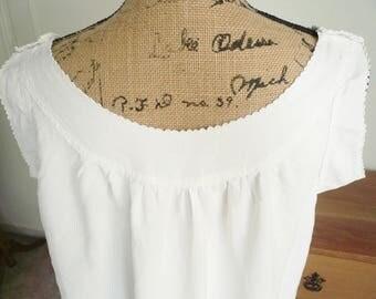SALE, Antique Fine Linen French Chemise, Vintage Linen Dress, Antique Linen Nightdress, Antique Linen Tunic, Monogram, 1900's.