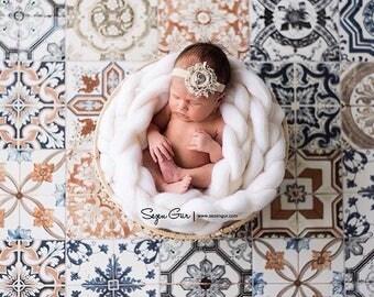 Newborn Basket Stuffer photo prop braid wool roving baby basket filler