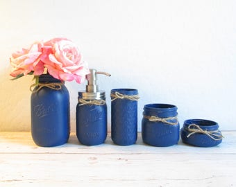 mason jar decor mason jar bathroom set navy blue bathroom set mason jar