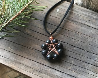 Pentacle necklace, Hypersthene necklace, Black crystal pentacle, Wiccan jewelry, Pagan jewelry
