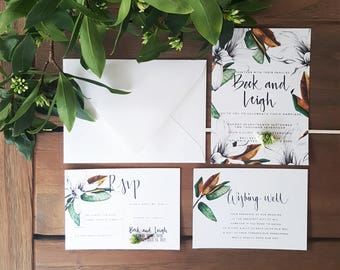 Magnolia Invite/Magnolia Blooms/Hand drawn Wedding Invite Set