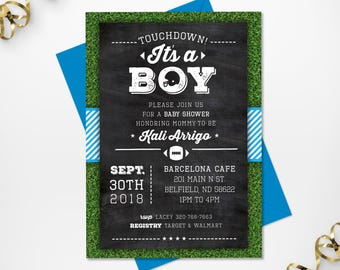Printable Football Themed Baby Shower Invitation, Baby Boy Printable Football Baby Shower Invitation, Custom Colors and Sizes Available