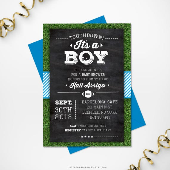 Printable Football Themed Baby Shower Invitation Baby Boy