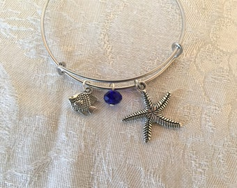 Starfish Charm And Sapphire Blue Crystal Silver Tone Adjustable Wire Bangle Bracelet