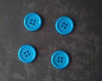 set of 4 buttons blue plastic 2 cm
