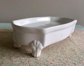 Ceramic Clawfoot Bathtub Soap Dish Bathroom Decor