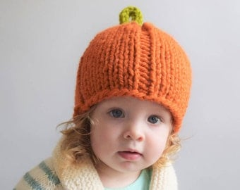 Pumpkin Hat Knitting Pattern // Pumpkin Hat Pattern // Knitting Patterns for Kids // Fall // Halloween // Thanksgiving