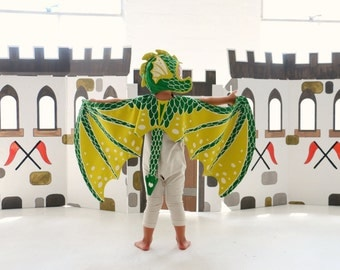 Dragon Costume - Green Dragon Costume Set - Dragon Wings and Hat - Game of Thrones - Birthday Gift for Kids - Halloween Costume