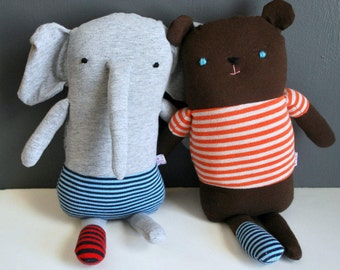 One Sock Gray Elephant Plushie in Blue Striped Underwear - made from recycled tees - Plush, Doll, Plushie, Stuffed Animal