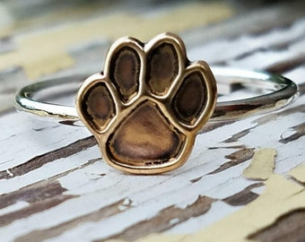 Paw Print, Sterling Silver, Stackable, Layered, Customized, Brass, Band, Gold, Paw Print Ring, Pet Memorial, Cat, Dog, Fur Baby, Loss of Pet