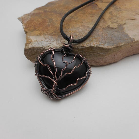 Heart Black Onyx Copper Wire Wrapped Tree Of Life Pendant - Black Onyx Heart Pendant - Double sided Tree Of Life Pendant