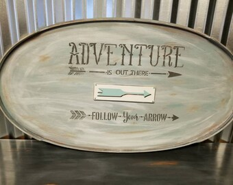 Adventure is Out There Follow Your Arrow Wall Decor Vintage Wood Wall Sign Large Farmhouse Plaque French Country Decor