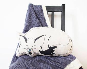 LINEN FOX PILLOW, fox plush, fox pillow, butterfly, animal pillow, animal plush