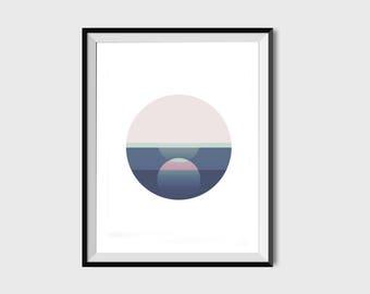 Mid century art, scandinavian art, minimal art print, Pink and blue art, abstract art print, graphic art print, modern art, modern print