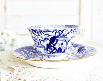 Vintage Royal Crown Derby Blue Mikado Teacup & Saucer | Blue Teacup, Blue Transferware Teacup, Chinoiserie Teacup, Royal Crown Derby Teacup