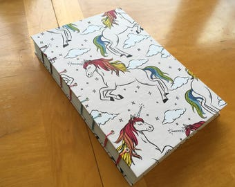 Rainbow Unicorn Handmade Sketchbook // 9 x 6 Hardcover Journal // Coptic Stitch // 144 Pages // Mythical Animals Notebook // Hand Bound