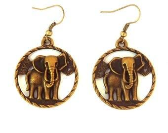 Little creole bronze elephant earrings