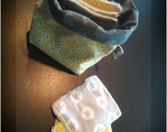 reversible and 6 wipes bamboo, hemp, cotton pouch