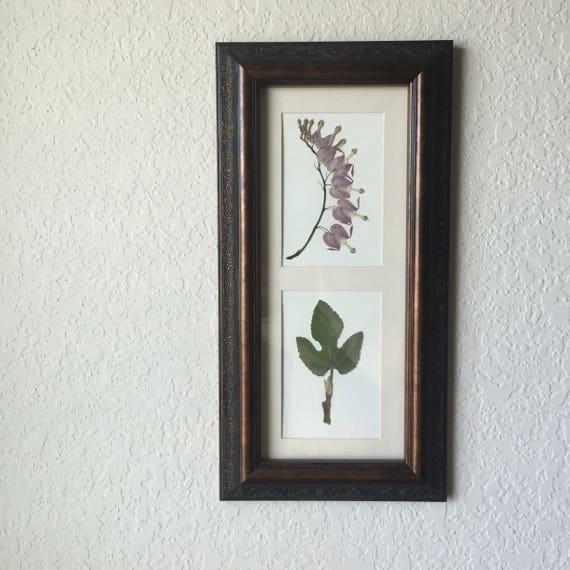 Bleeding Heart & Fig Botanical Art- Real Pressed Flower and Leaf Herbier -14x7 Framed Floral Art - Vintage Botanical- Pink and Green
