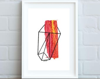 Original artwork\\ Red and Yellow Geometric Gem\\ acrylic & ink on mixed media paper\\ 8x10 inch mat with 4x6 inch cutout
