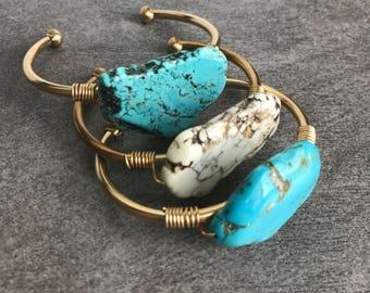 Turquoise cuff bracelet, Gemstone bracelet, Gold cuff bracelet, Crystal jewelry, December birthstone