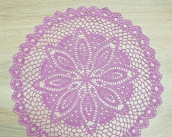 Crochet Pink Round Doily Cotton Centerpiece Crochet Home Decor Table Decor made in Lithuania