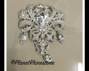 Silver Large Rhinestone Brooche #B-14