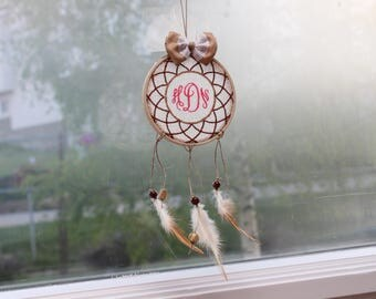 Custom Dream Catcher-Feather Dream Catcher-Ombre Dream Catcher-Burlap,Wood Bead,Feather Dreamcatcher-Baby Nursery-No More Bad Dreams