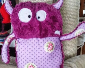 Pink Monster Doudou for Girl in Fabric