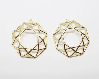 P0658/Anti-Tarnished  Matte Gold Plating Over Brass/Net Circle Pendant/24.5x27mm/2pcs