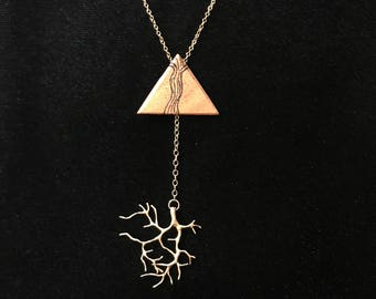 Tip to Coral - koa wood/ 24k filled coral piece - necklace