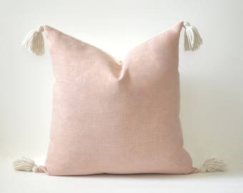 Solid Blush Tassel Pillow Cover